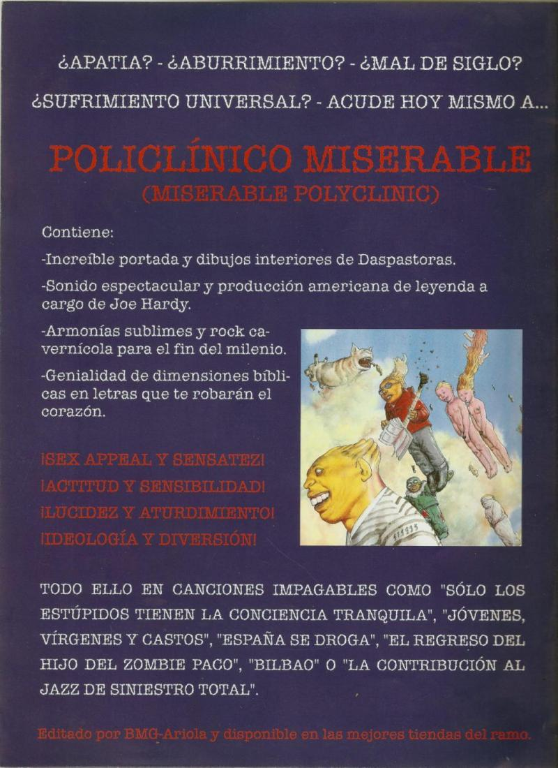 "Contraportada folleto promoción ""Policlínico Miserable"""